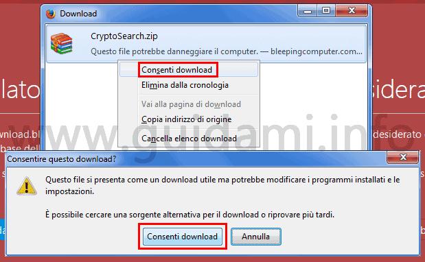 Firefox scheda Download scaricare file bloccato perché pericoloso