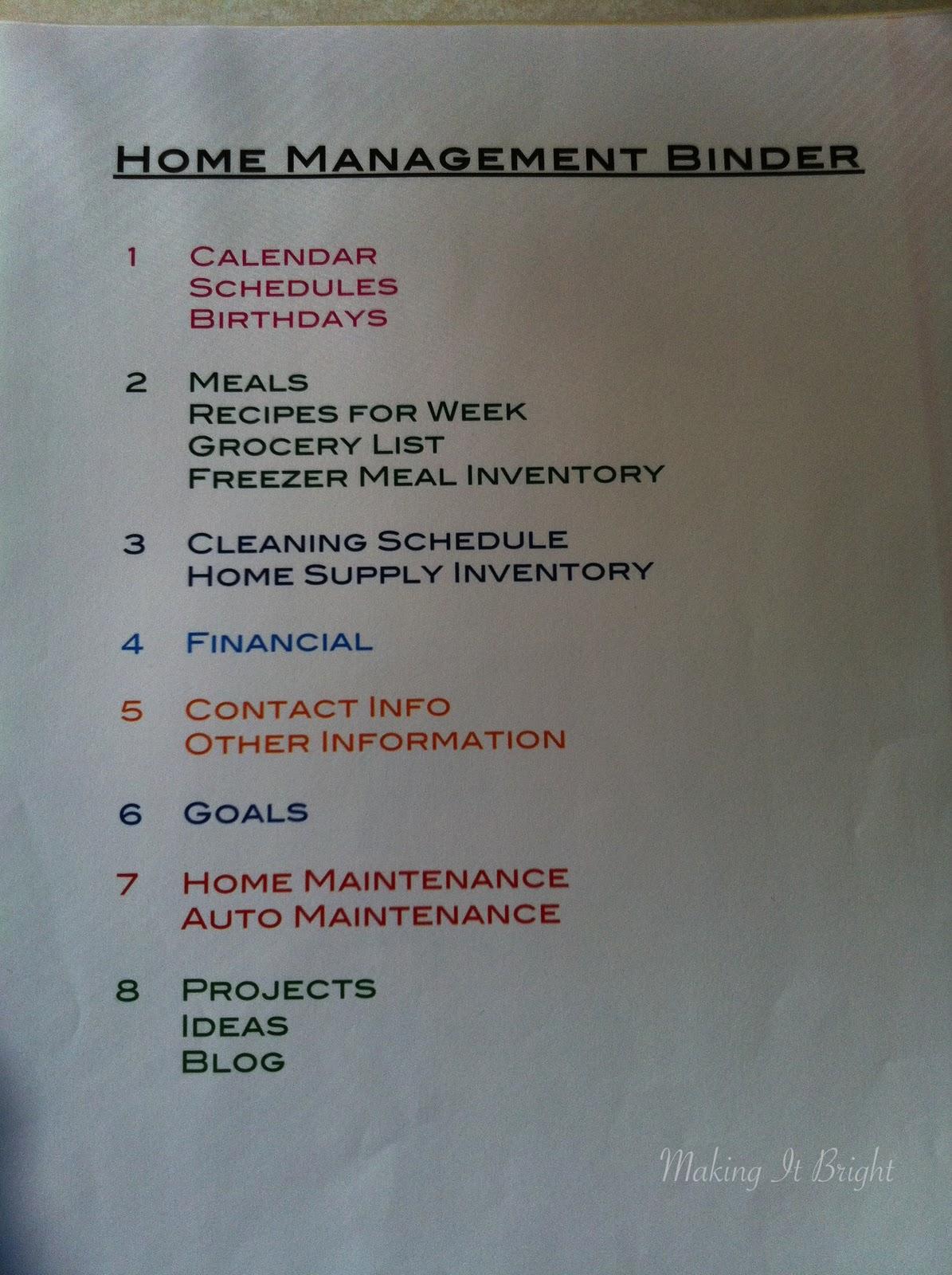 Making It Bright Organization Home Management Binder