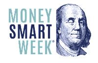 money smart week logo with Benjamin Franklin