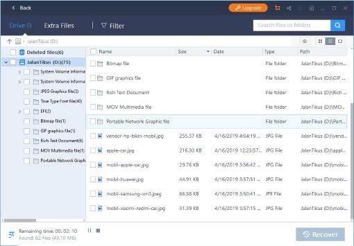 Hasil scan EaseUS Data Recovery