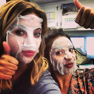 Ashley Benson and Shay Mitchell Face Masks PLL BTS