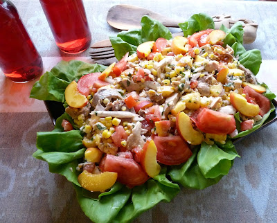 Chicken, Peach, Tomato & Corn Salad