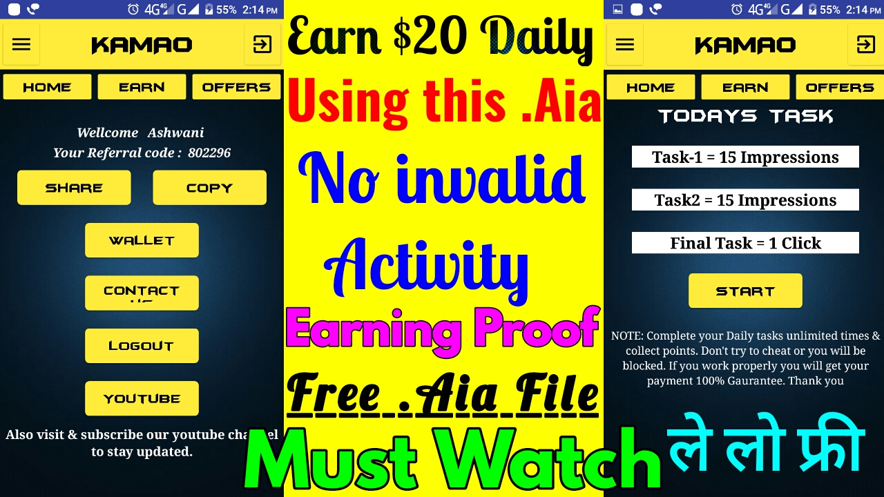Earning app free aia for thunkable and appybuilder - Latest