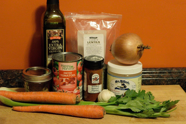 The ingredients needed to make the lentil soup.