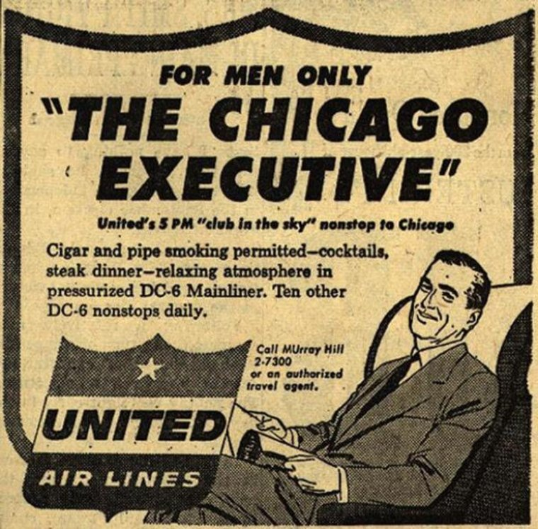 United Airlines Offered Men Only Quot Executive Quot Flights Until