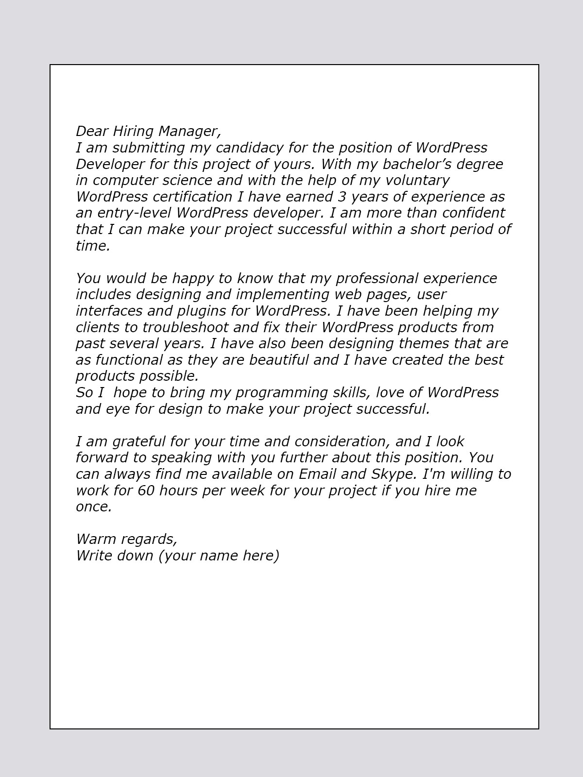 odesk cover letter for wordpress developer