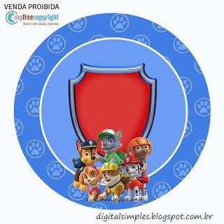 Toppers o Etiquetas de Fiesta de Paw Patrol para imprimir gratis.