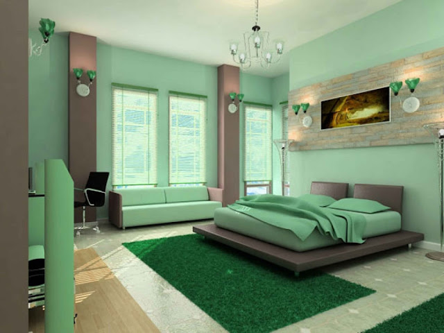 fascinating paint colors for bedrooms with dark green wall and green shag rug