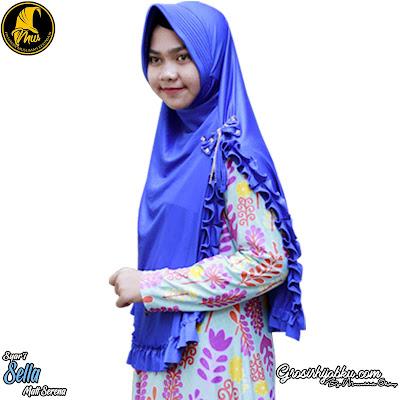 Jilbab syar'i pita permata model terbaru belah samping kiri