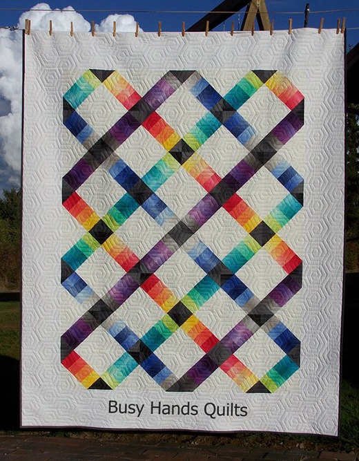 Jelly Roll Railway Twin Quilt by Myra of Busy Hands Quilts, The Pattern by Kimberly Jolly of Fat Quarter Shop