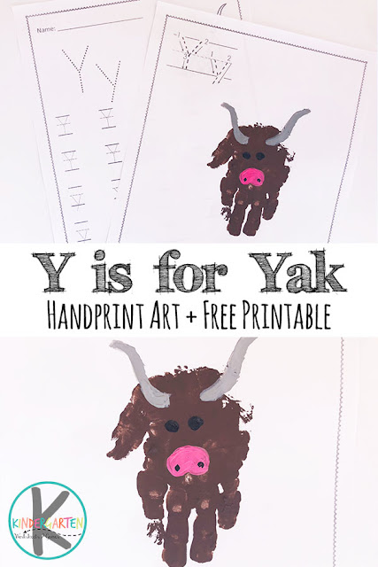 FREE Y is for Yak Handprint Craft & FREE Letter Y Worksheets - this a adorable Letter Y craft for kids uses kids hands to make this art project. Perfect for a letter of the week for toddler, preschool, kindergarten, or first grade #letteroftheweek  #craftforkids #preschool