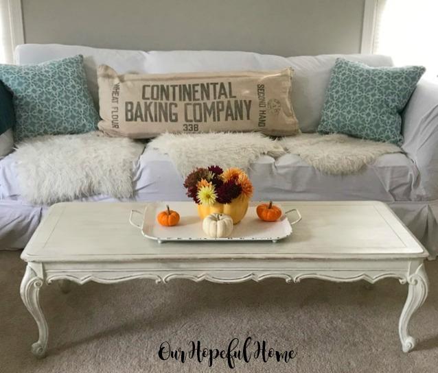 ceramic pumpkin fall flowers coffee table farmhouse tray