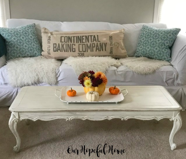 Continental baking company flour sack pillow couch pumpkinsn fall flowers coffee table farmhouse tray