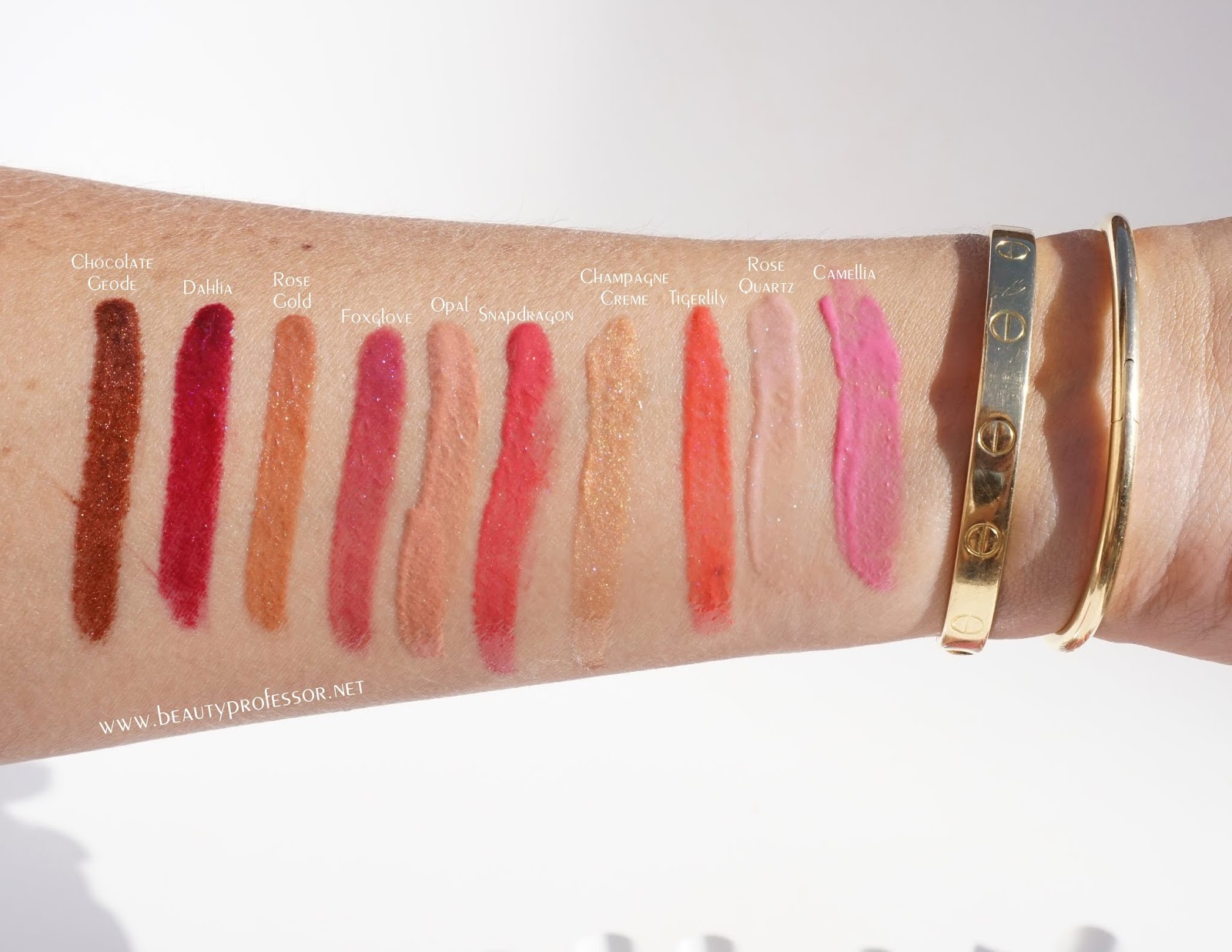 becca lip glow swatches