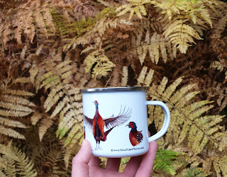 Enamel Pheasant mug by Alice Draws The Line