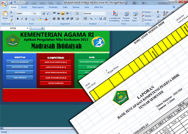 Aplikasi Raport Kurikulum 2013 untuk MI (Madrasah Ibtidaiyah)