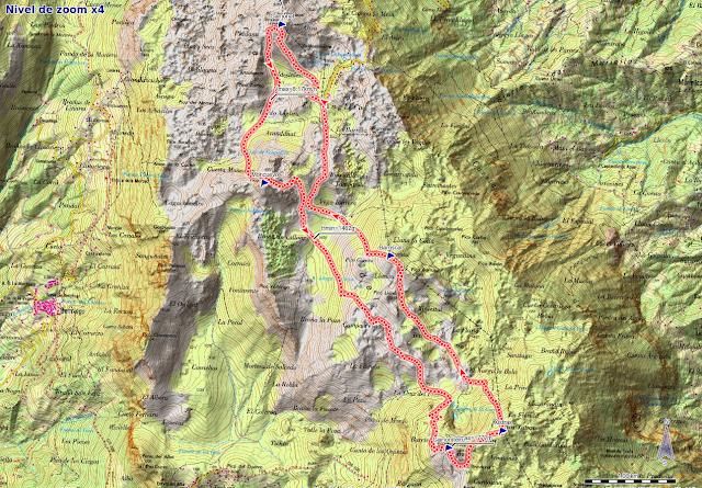 Rutas Montaña Asturias: Mapa de la ruta por la Sierra del Aramo
