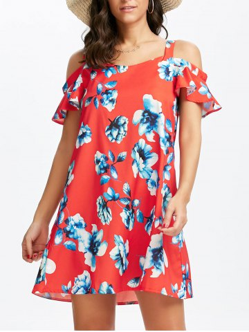 Mini Floral Print Cold Shoulder Dress - Red - Xl