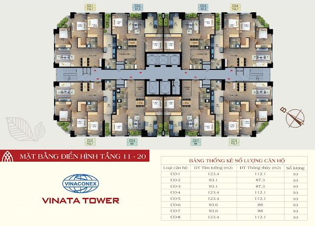 mặt bằng vinata tower tầng 11-20