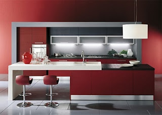 cocina rojo blanco negro