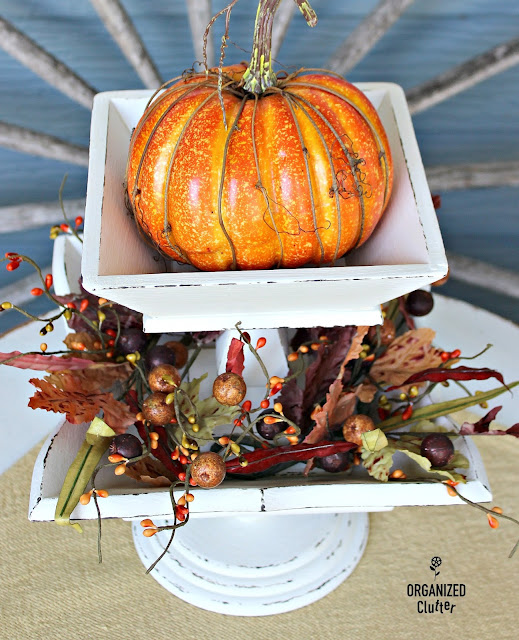 Upcycled Fall Vintage Wooden Fruit Bowl Decor www.organizedclutter.net