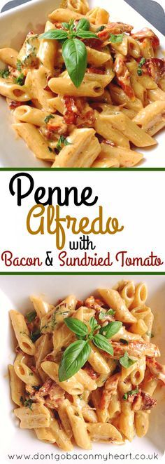 Penne Alfredo wíth Bacon and Sundríed Tomato