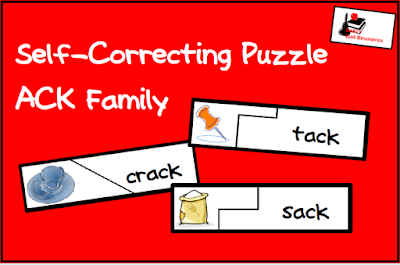 Free self correcting word family puzzle for the ACK word family. Great literacy center and free download from Raki's Rad Resources.