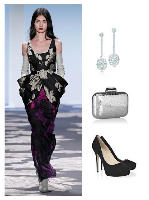 Vera Wang dress, Jimmy Choo shoes, Tiffany earrings