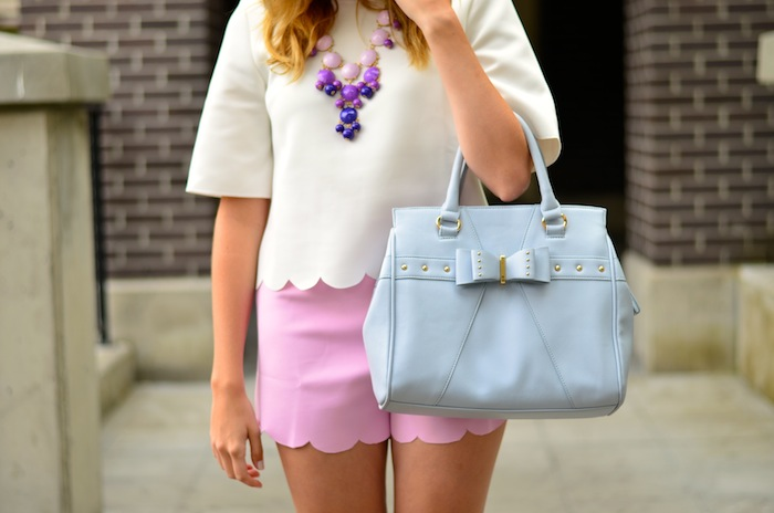 Pink Scalloped Shorts Outfit