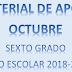 MATERIAL DE APOYO (octubre) 6° PRIMARIA Ciclo Escolar 2018-2019