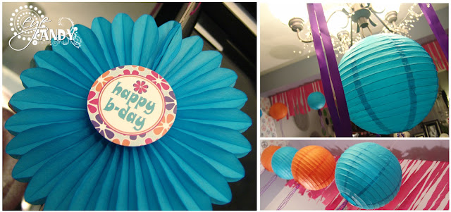 birthday party decor, peace party decor, ribbon chandeliers DIY