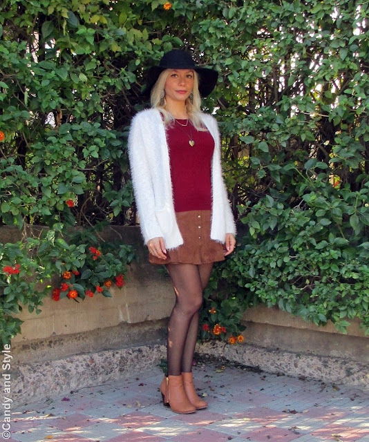 Fuzzy Cardigan, Suede Mini Skirt, Ankle Boots and Floppy Hat