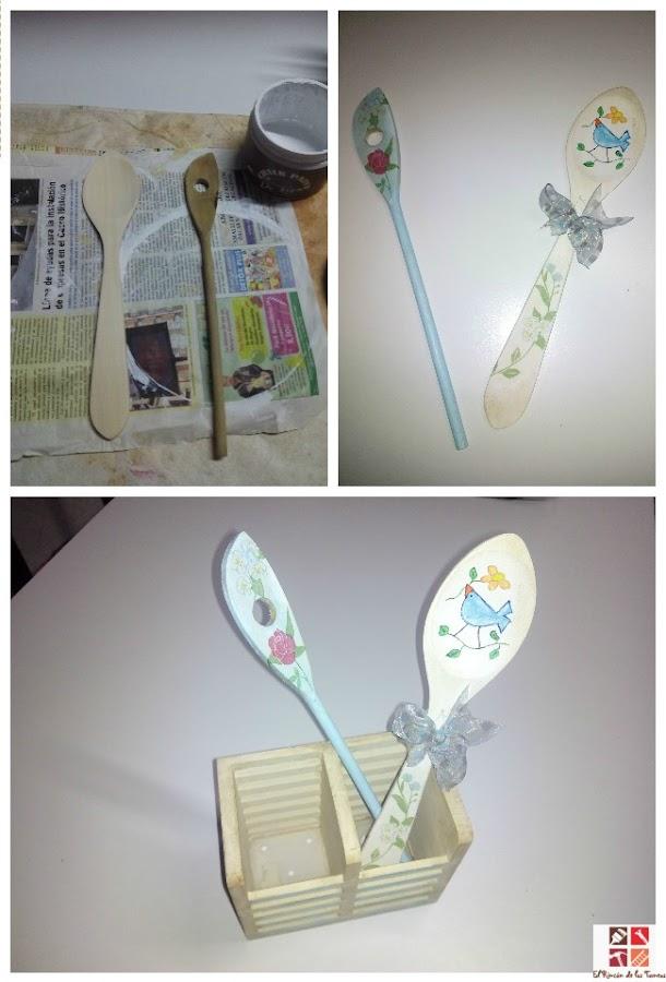 portacubiertos con pintura a la tiza y decoupage