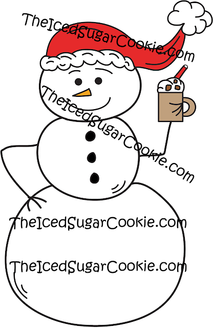 Snowman Drinking Hot Chocolate Clip Art-Commercial Use