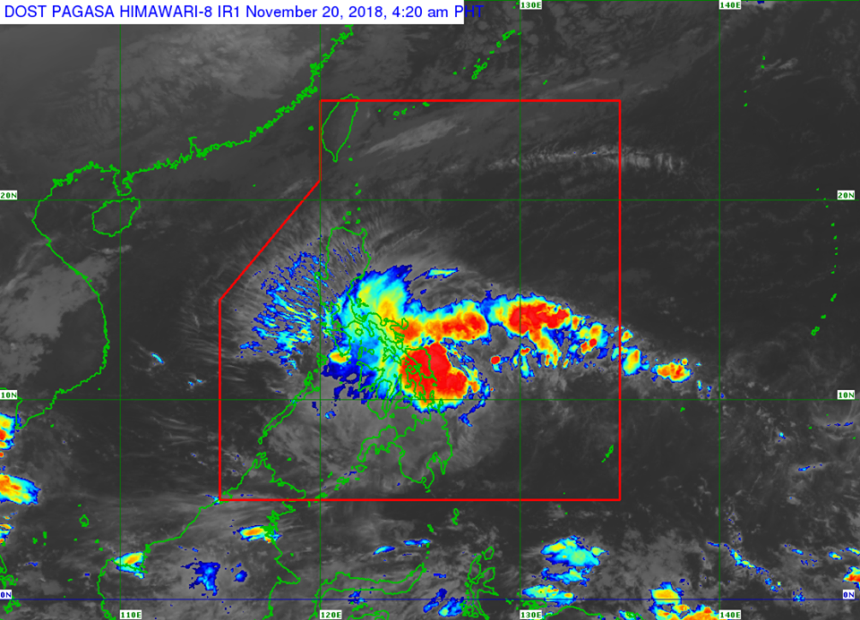 Satellite image of Tropical Depression 'Samuel' as of 4:20 am on Tuesday, November 20
