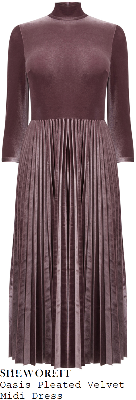 lydia-bright-oasis-dusty-rose-pink-three-quarter-sleeve-high-neck-pleated-velvet-midi-dress