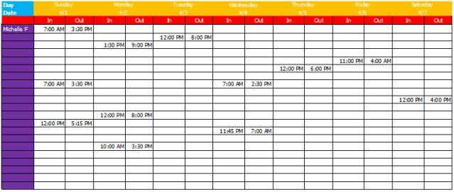 free printable weekly work schedule template excel template