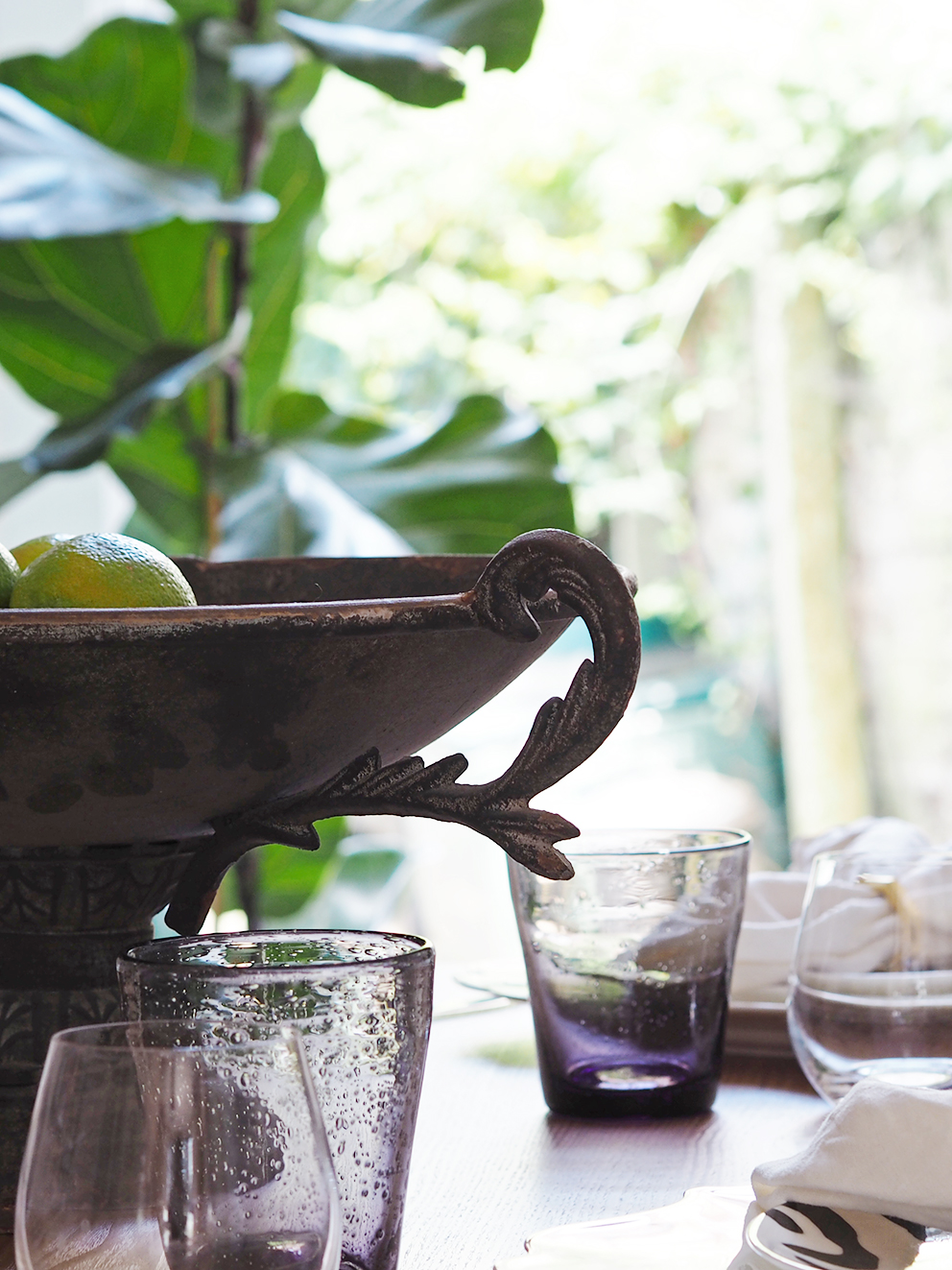 My Summer Dining Room - French For Pineapple Blog - close up of footed bowl on table