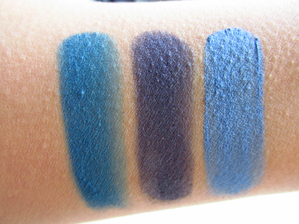 essence mono eyeshadows 79 lola petrola, 80 groovy grapes, 81 i am royalty swatches