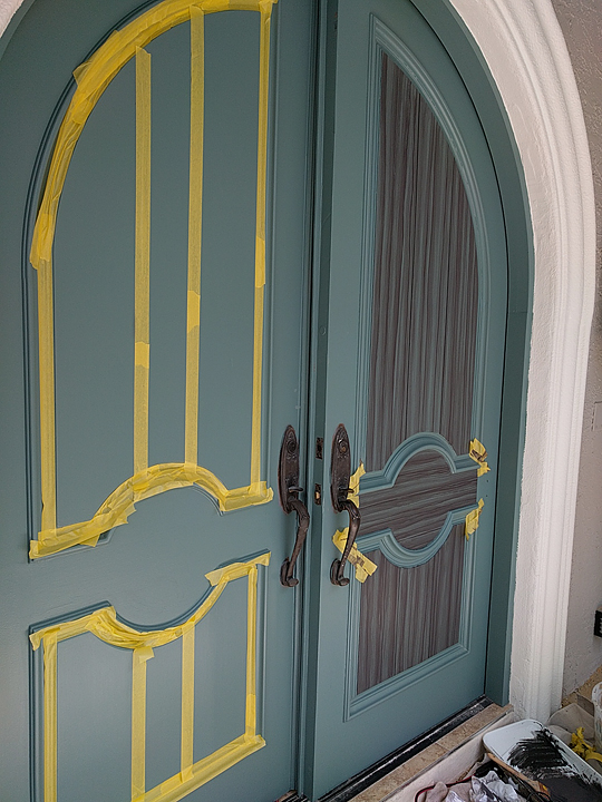 You can see that I use a lot of tape in my painting projects when I am painting doors to look like wood. & Painting Entry Doors To Look Like Wood | Everything I Create - Paint ...