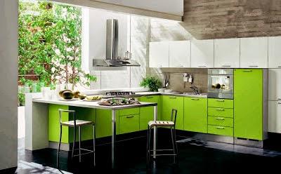 Diseño de cocina verde y blanco