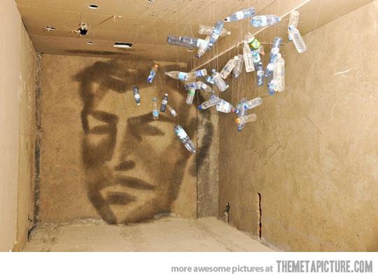water bottle shadow art
