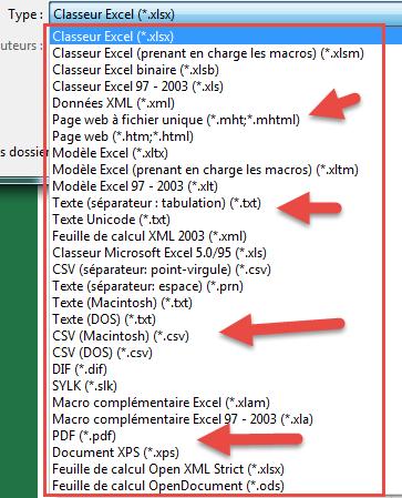 Liste formats fichiers sous Excel