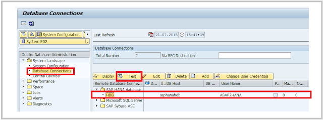 SAP ABAP HANA DBACOCKPIT verification