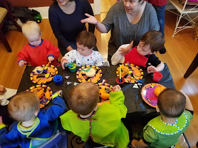 toddler pumpkin party painting with mommas