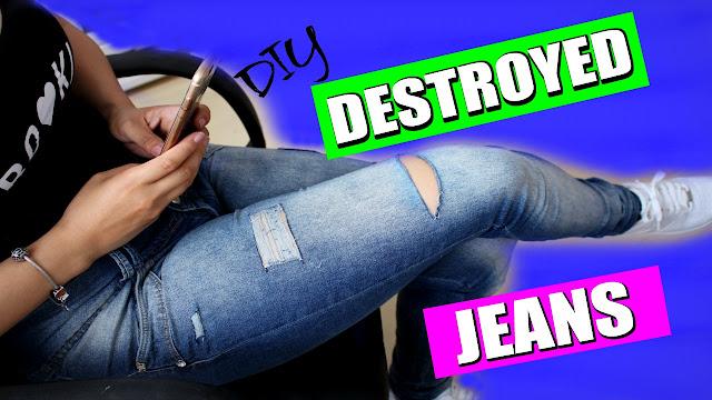 destroyed jeans, como fazer jeans rasgado