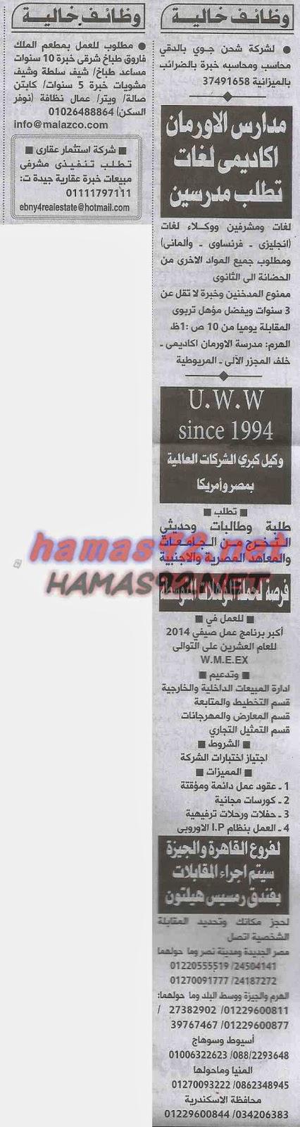 3a7a7e3e9 اعلانات وظائف جريدة الاهرام المصرية اليوم الثلاثاء 24 يونيو 2014 ...