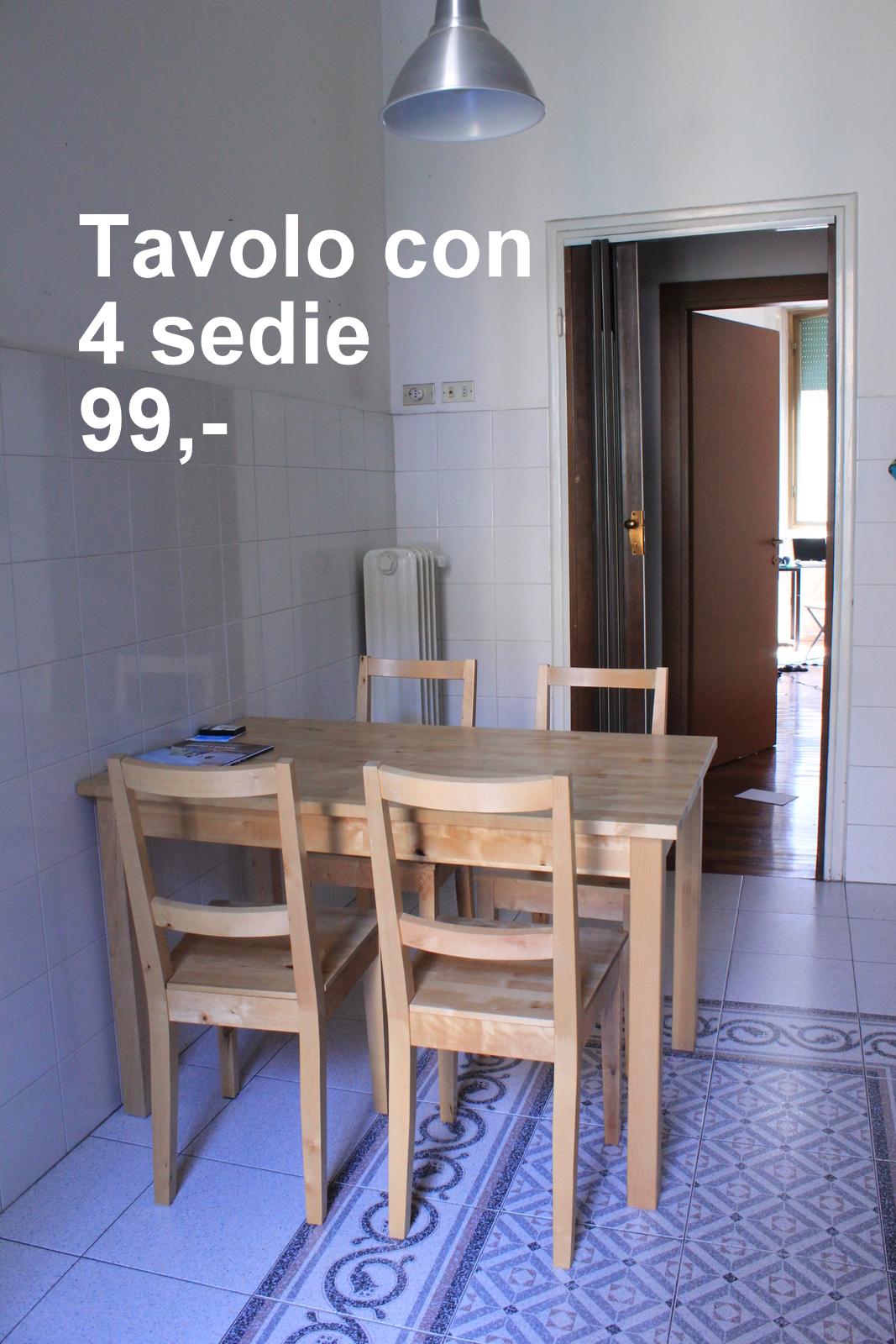 Si svende tutto un tavolo e quattro sedie for Regalo sedie milano