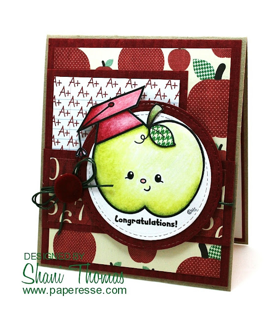 2 Cute Ink Graduation Apple digital stamp graduation card, by Paperesse.