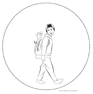 Boy walking in bubble